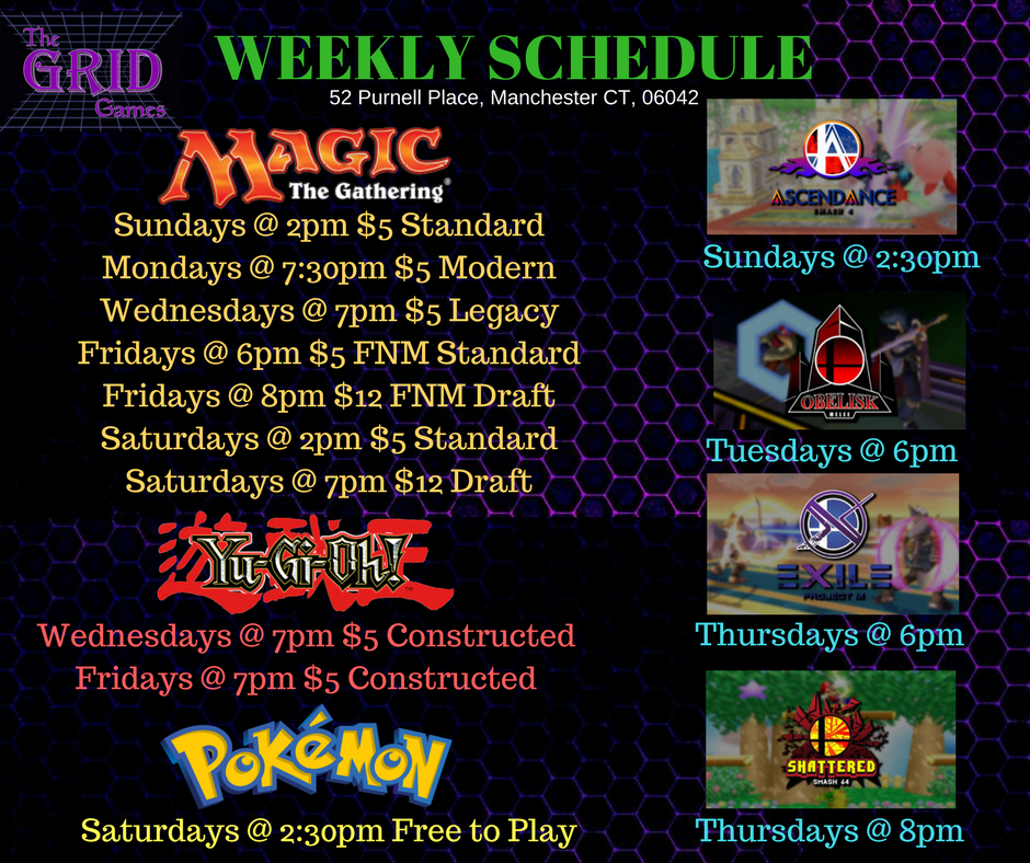 Grid Games Weekly Schedule